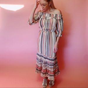 Buffalo Off Shoulder Striped Maxi Dress